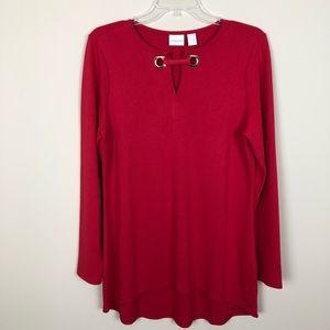 Chico's Red Flare Grommet Tunic
